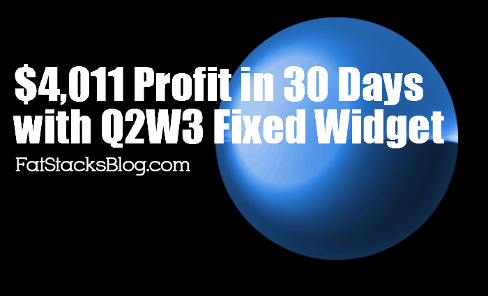 $4,011 Profit in 30 Days Using the Q2W3 Fixed Widget Plugin