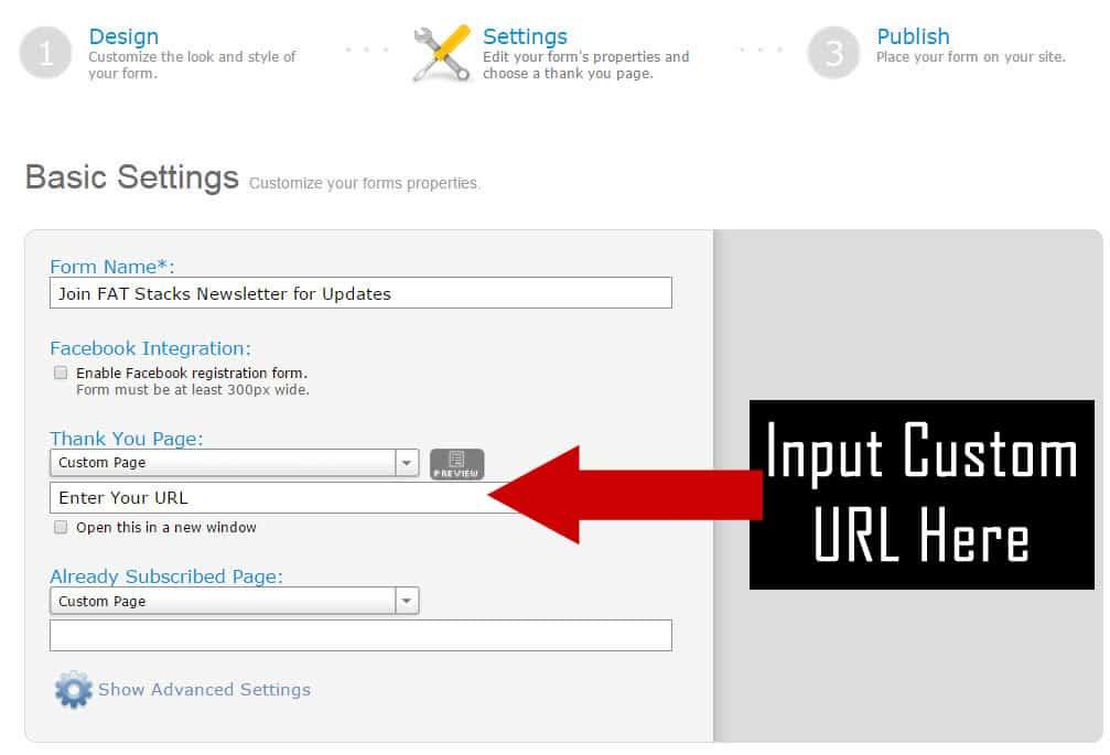 AWeber Custom Thank You Page URL