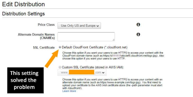Amazon AWS Cloudfront Settings for SSL Certificate text