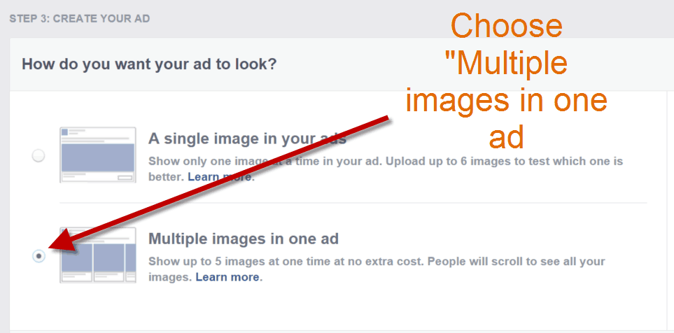 how to create a Facebook carousel ad