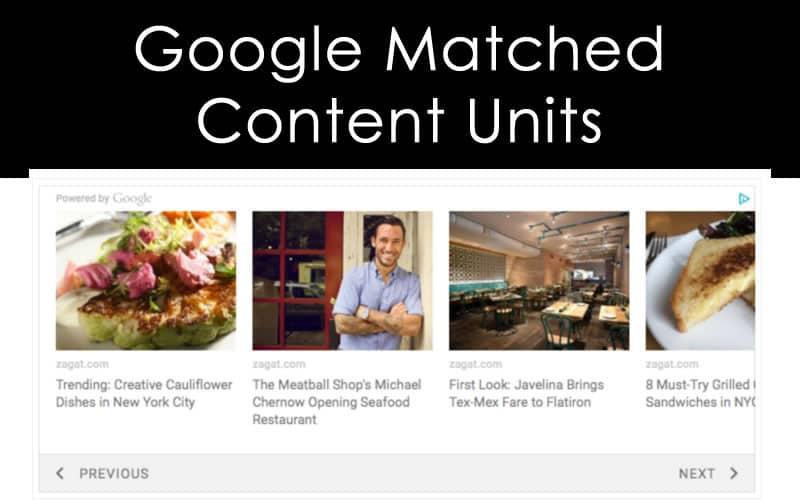 Google Matched Content Units