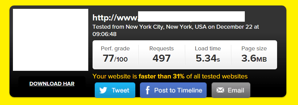 Site B URL #1 Tested on Pingdom (WPEngine):