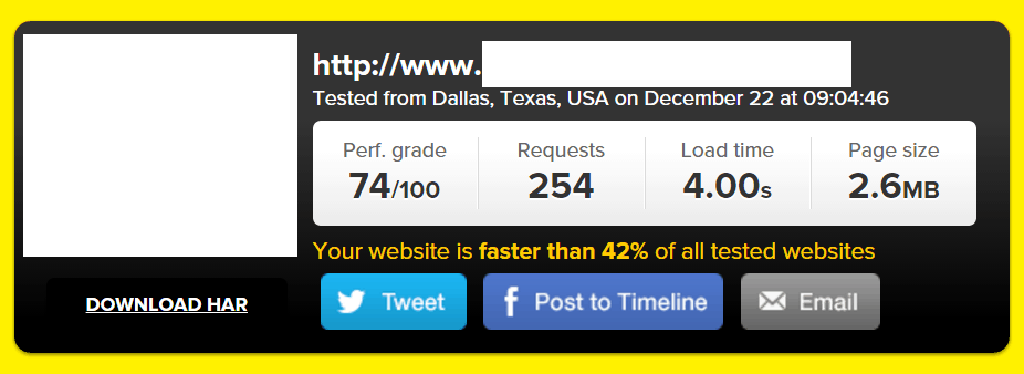 Site B URL #2 Tested on Pingdom (WPEngine):