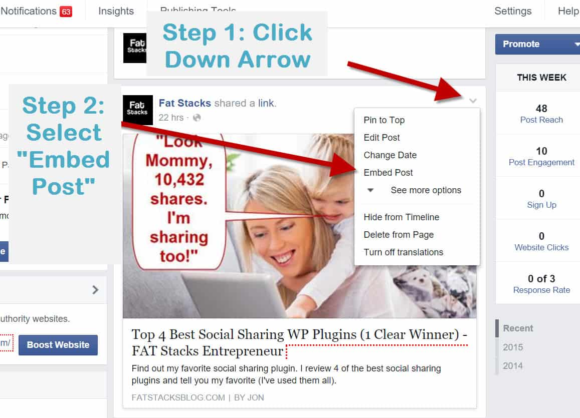 How to embed Facebook posts into website 1