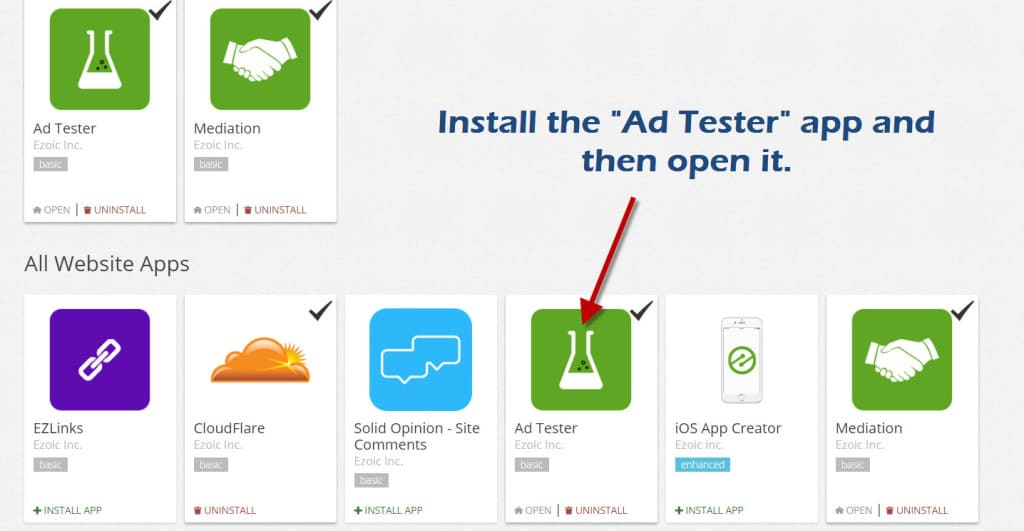 Install Ezoic Ad Tester App