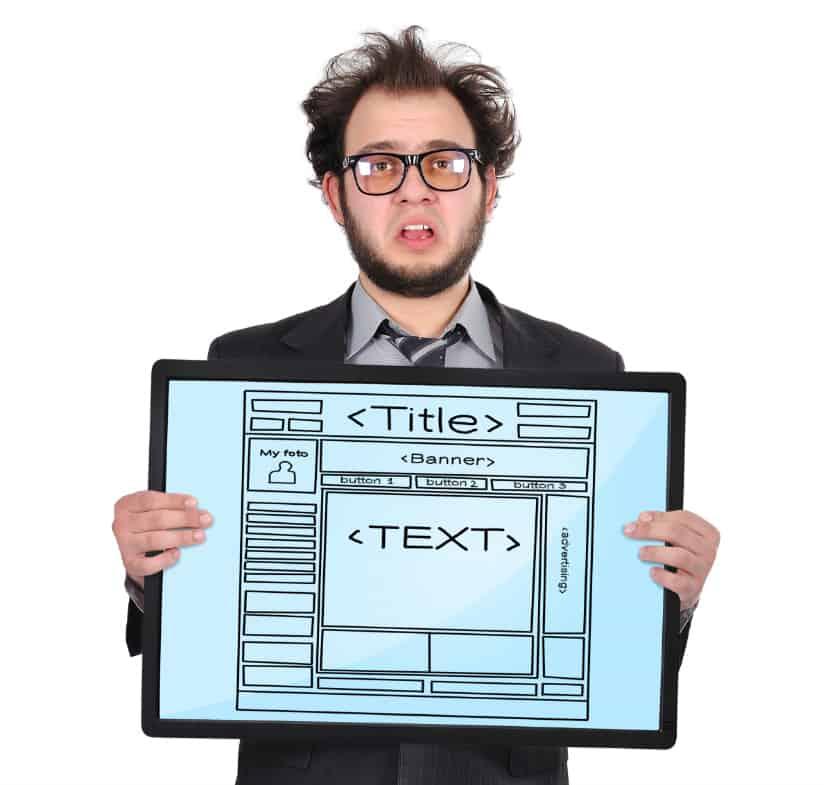 Website designer with sketch of website layout
