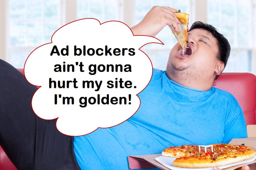 website publisher eating on sofa not worried about ad blockers