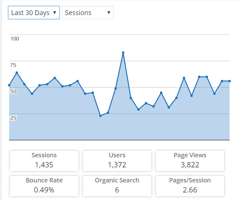 Affiliate Store Traffic Stats 30 Days