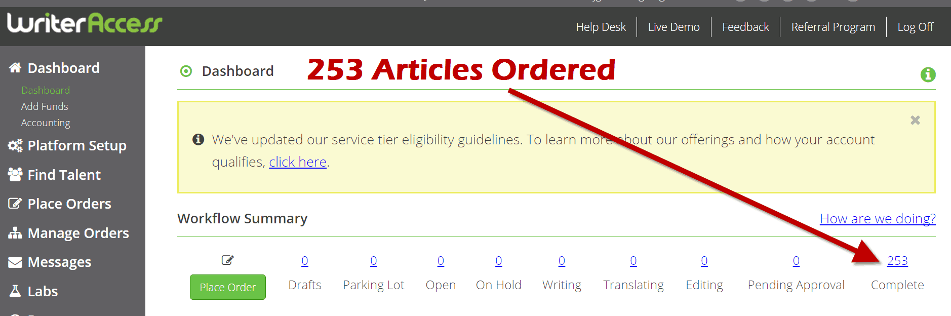 Writer Access Orders