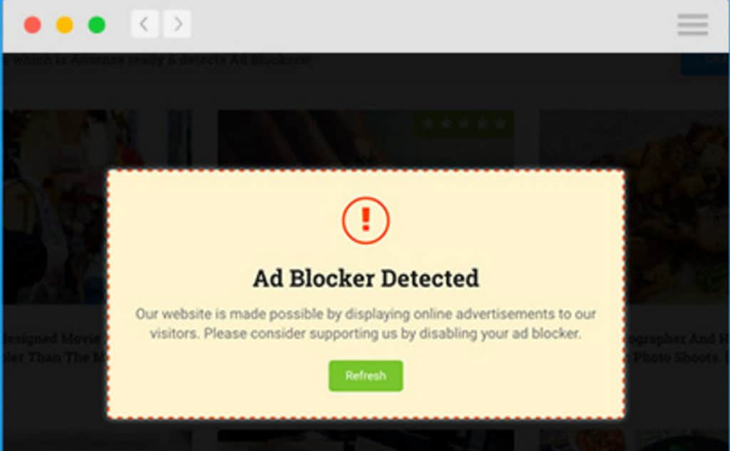 Website Wall Blocking Visitors with Ad Blocker