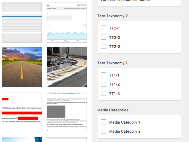Assigning custom taxonomies and media categories to images in WordPress media library
