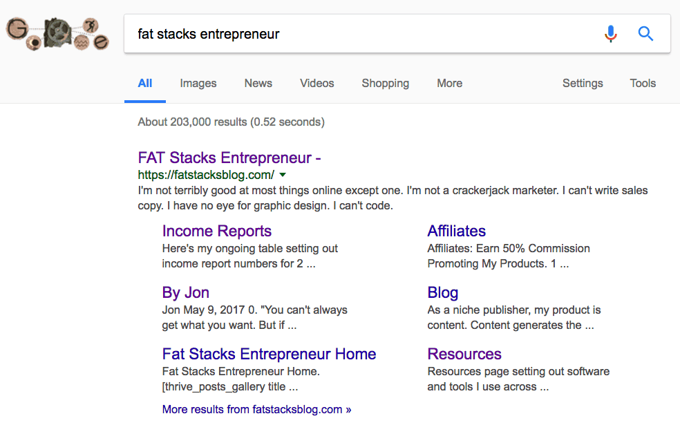 Fat Stacks blog search in Google search engine