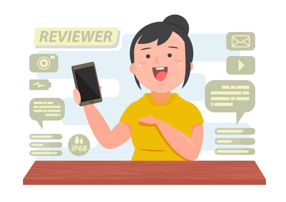 Cartoon of woman making video product review