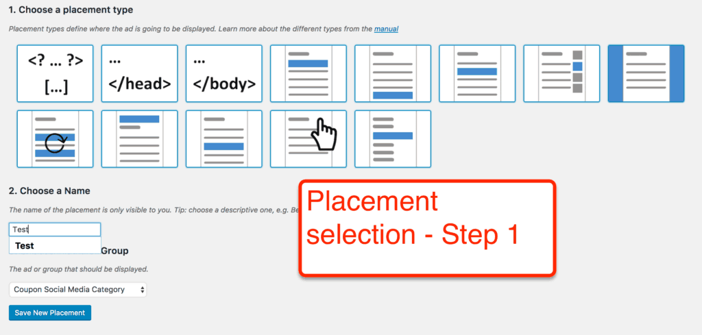 Advanced Ads Step 1 Placement Selection