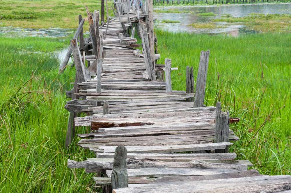 Rickety wooden bridge