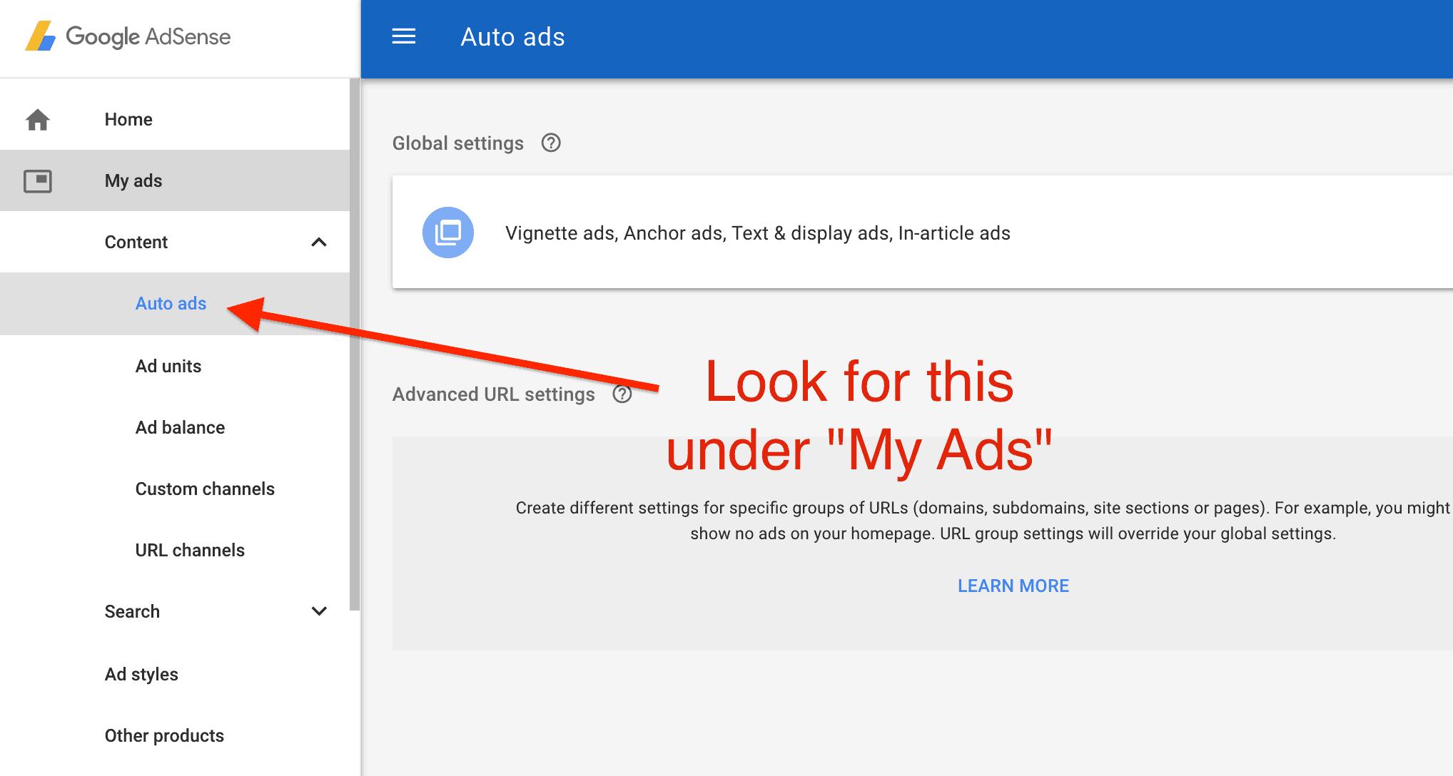 Turn on AdSense Auto Ads screenshot