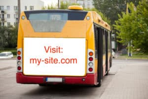Bus with website advertising
