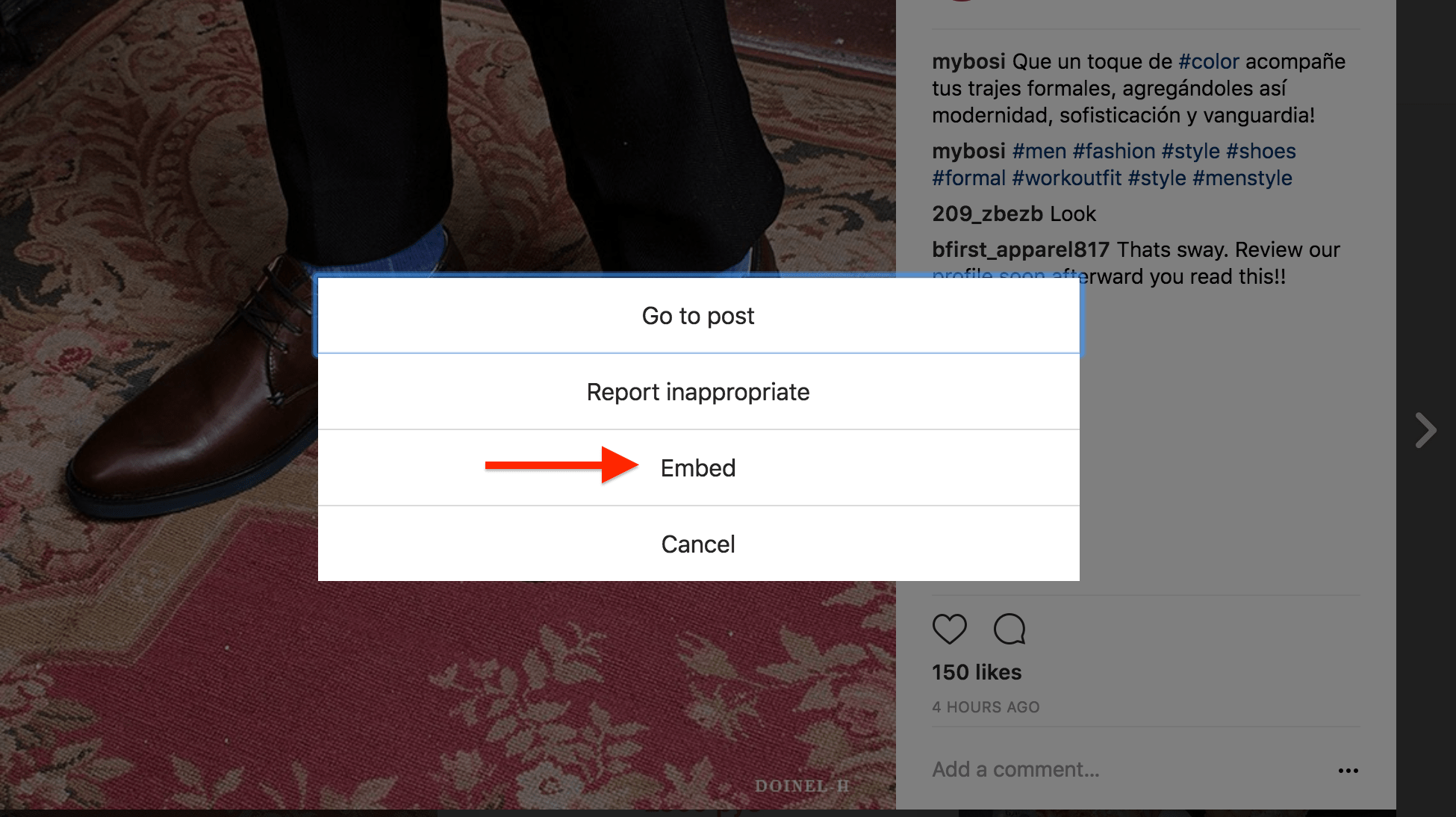 Step 2 of embedding an Instagram Post