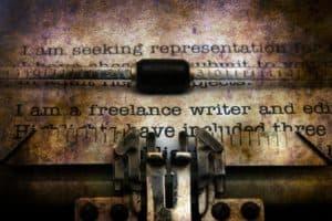 Freelance writer typing