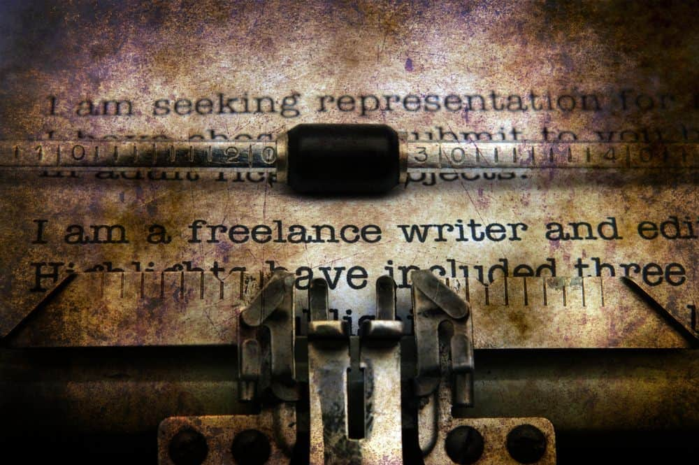 Freelance writer typing