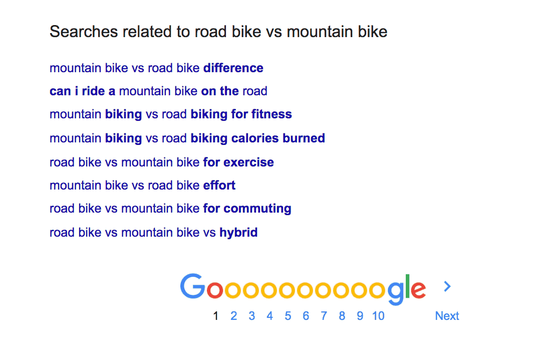 Road bike vs mountain bike related searches in Google for keyword research
