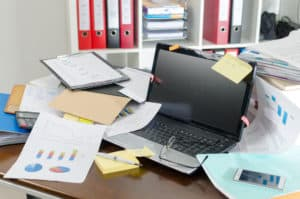 Messy desk in office