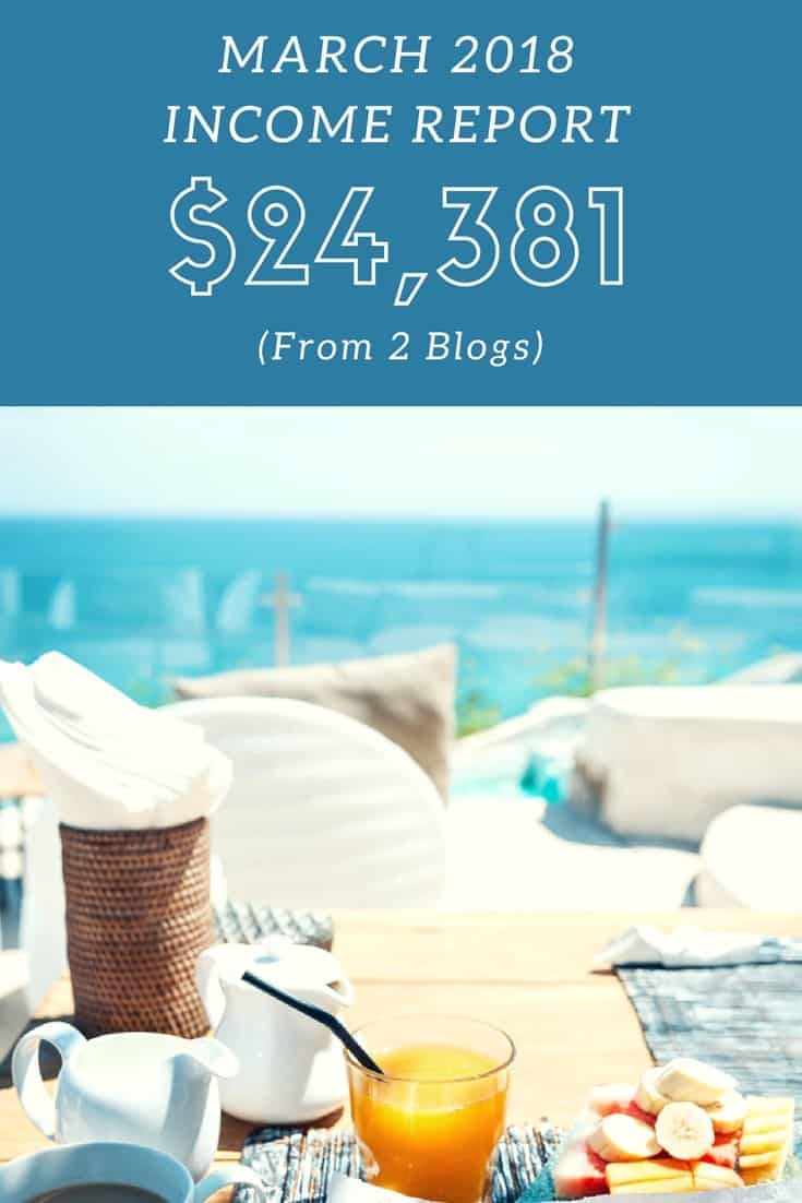 Fat Stacks Blog March 2018 Income Report: $24,381 from 2 niche blogs.