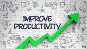 Productivity graphic of an arrow going upwards