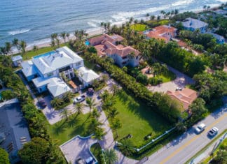 Aereial view of Florida waterfront mansions fs