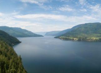 Aerial view of Shuswap lake BC