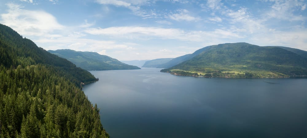 Aerial view of Shuswap lake BC