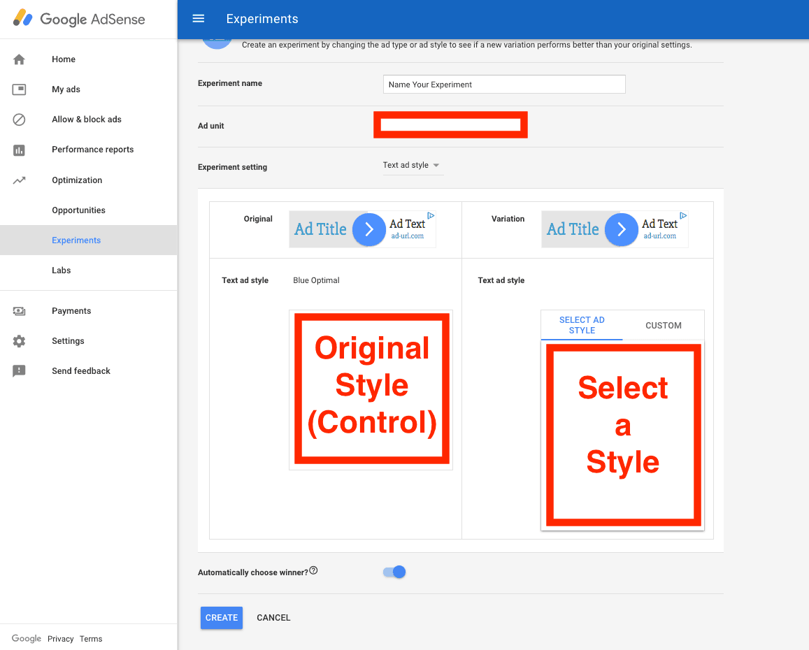 Step 4 in setting up AdSense Experiments - test styles