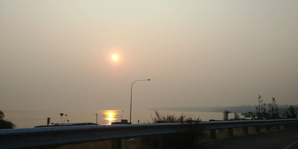 thick smoke from forest fires in BC in the summer 2018