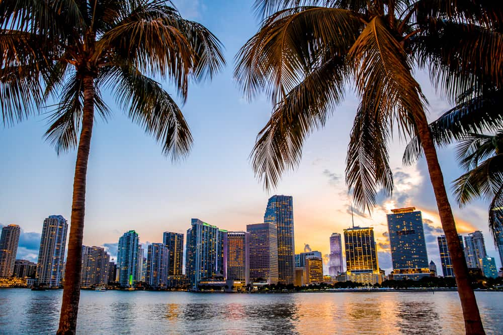 Miami Florida skyline at dusk
