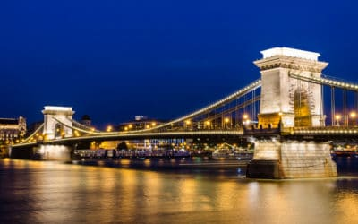 The Szechenyi Chain Bridge is a suspension bridge that spans the River Danube of Budapest