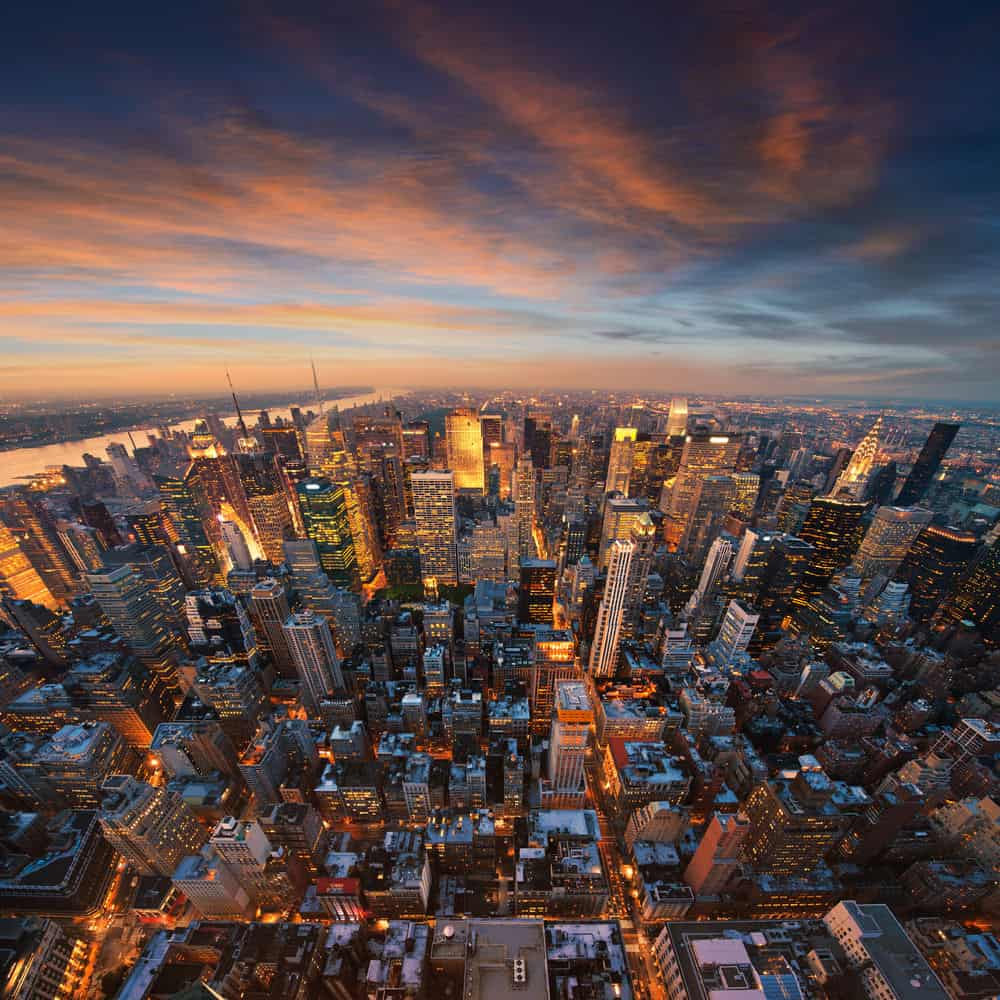 Aerial view of Manhattan at dusk