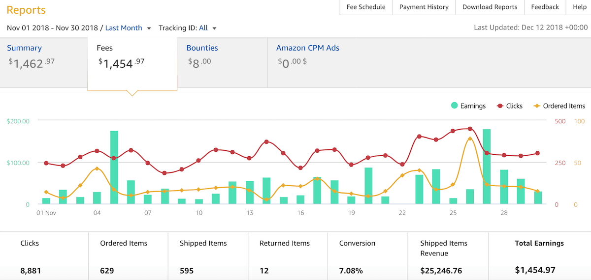 Amazon affiliate revenue November 2018 Fat Stack