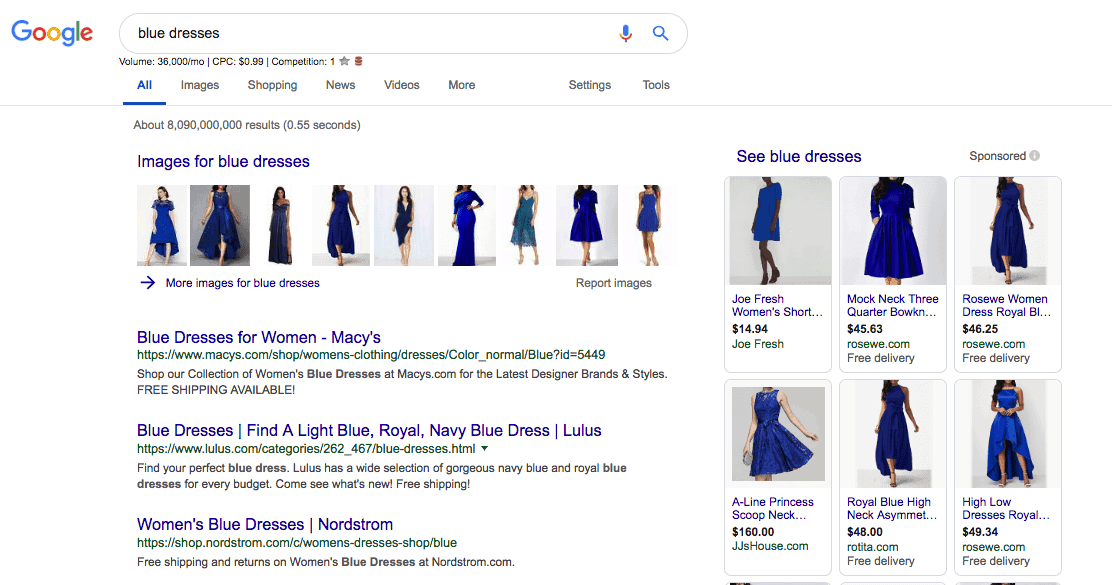 Google search with image results