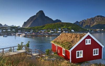 Fishing village in Lofoten Islands area in Norway