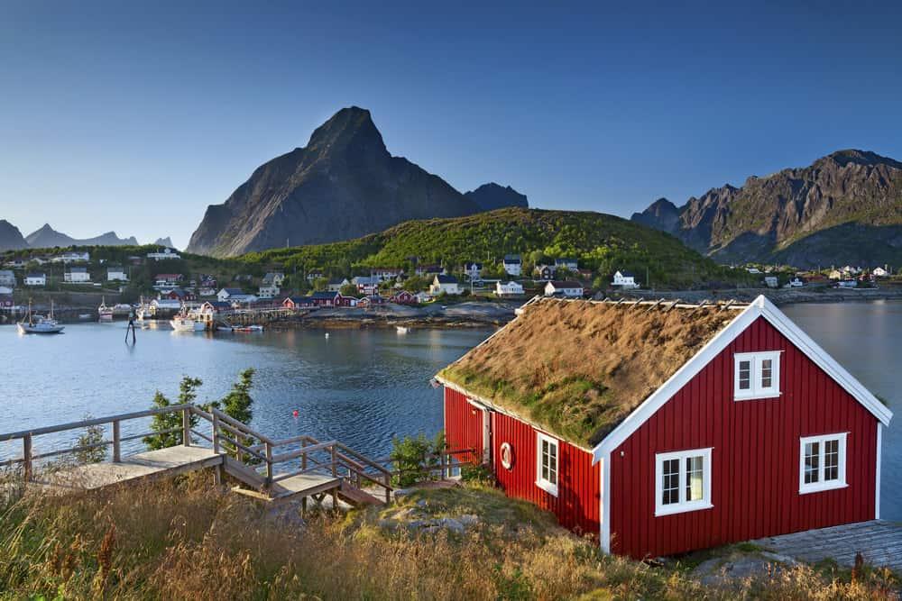Fishing village in Lofoten Islands area in Norway