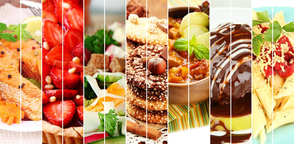 photo collage of many food dishes