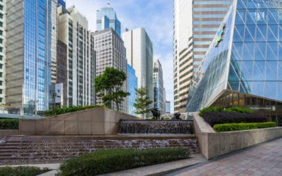 Exchange Square Plaza with Water buffalo sculpture by Elizabeth Frink in Hong Kong
