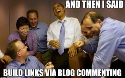 Obama with group laughing about using blog comments for SEO
