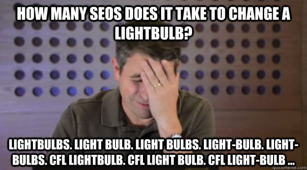 SEO joke meme for keyword research