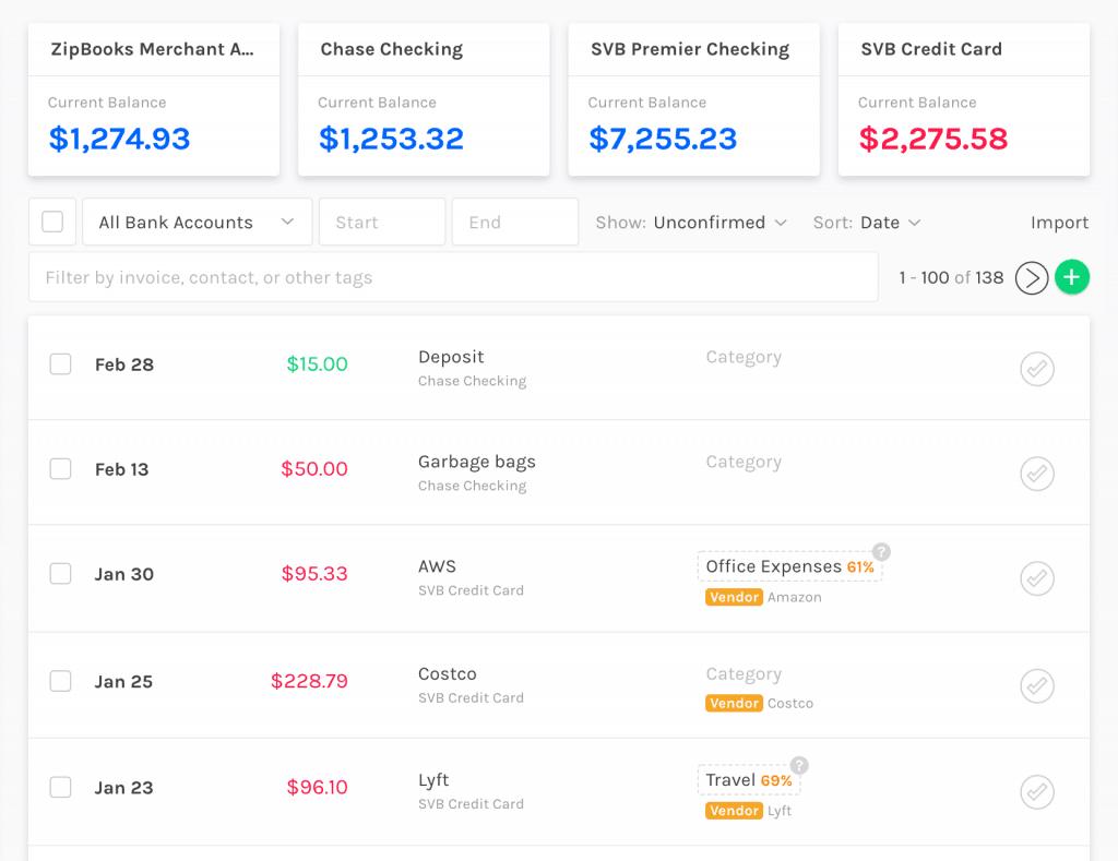 Expense categorization example of Zipbooks automation.