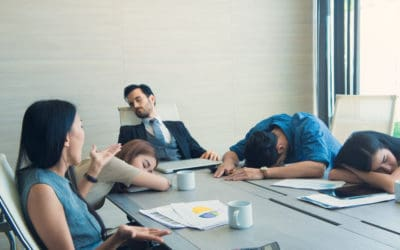 People bored in a meeting