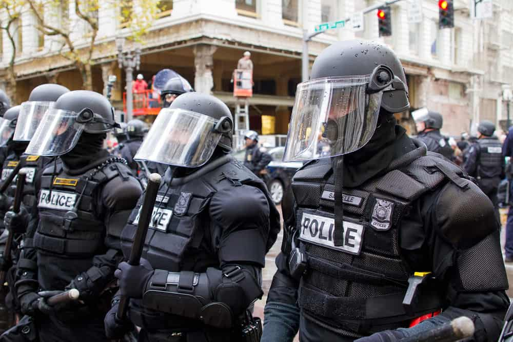 Police in Riot Gear in Downtown Portland, Oregon during a Occupy Portland protest on the first anniversary of Occupy Wall Street November 17, 2011