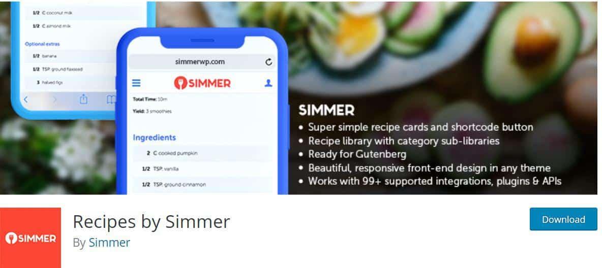 Recipes by Simmer WordPress Plugin