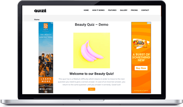 Quizé custom welcome page