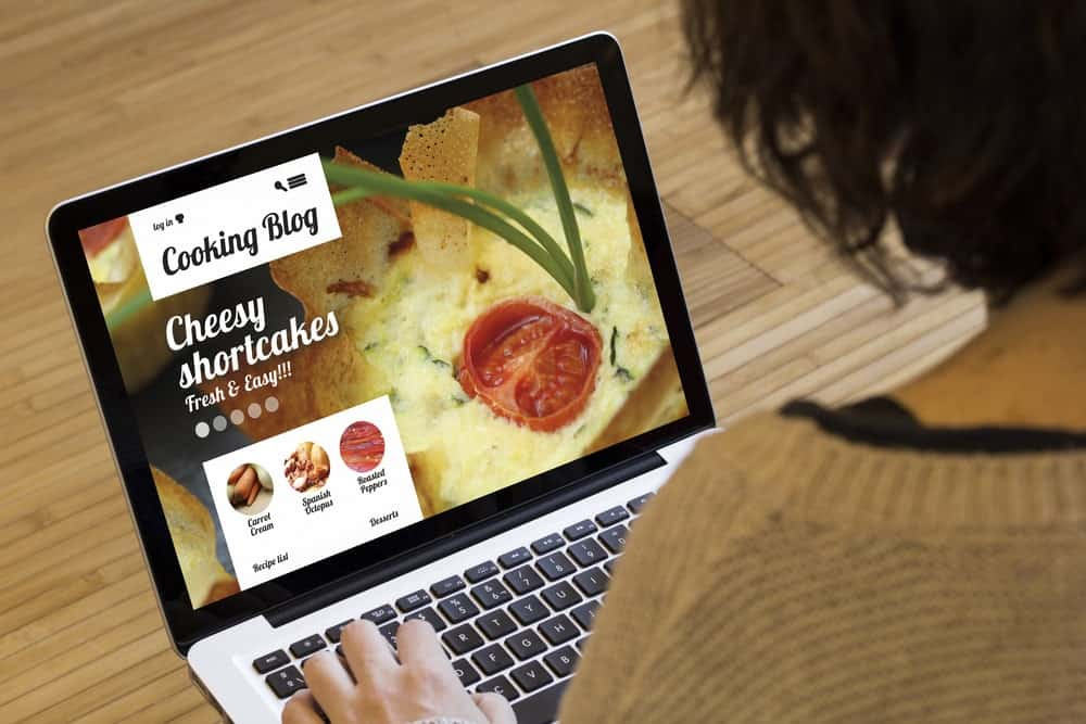 View of a food blog homepage.